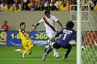 Manchester City midfielder Jo closes down on goal in the match's final minutes. The 2010 Atlanta International Soccer Challenge was held, Wednesday, July 28, at the Georgia Dome, featuring a match between Club America and Manchester City. After regulation time ended 1-1, Manchester City was awarded the victory, winning 4-1, in penalty kicks.