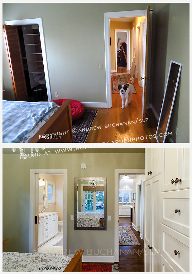 A new master bathroom and wall of Shaker-style white cabinetry transform the master bedroom in this newly remodeled home.