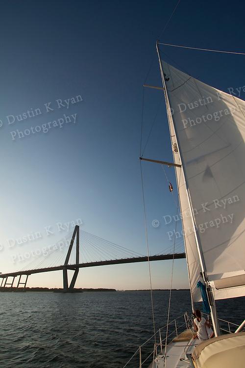 Sailing Sunset charleston south carolina beneteau 49 sailboat yacht cooper river arthur ravenel jr bridge