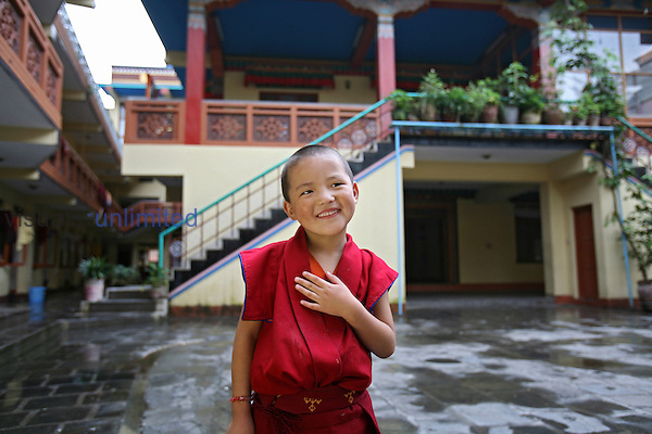 Boy in monk training, Nepal
