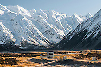 Frosty morning near Mt. Cook Village with campervan on road, Mt. Cook National Park, Mackenzie Country, World Heritage Area, New Zealand