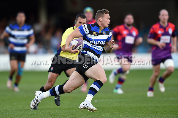 Chris Cook of Bath United goes on the attack. Remembrance Rugby match, between Bath United and the UK Armed Forces on May 10, 2017 at the Recreation Ground in Bath, England. Photo by: Patrick Khachfe / Onside Images