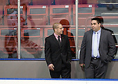 Mark Majewski (Northeastern - SID), Mark Phalon (Northeastern - Dir-Hockey Ops) - The visiting St. Francis Xavier University X-Men defeated the Northeastern University Huskies 8-5 on Sunday, October 2, 2011, at Matthews Arena in Boston, Massachusetts.