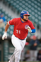 Buffalo Bisons first baseman Rowdy Tellez (21) runs to first base during a game against the Syracuse Chiefs on May 18, 2017 at Coca-Cola Field in Buffalo, New York.  Buffalo defeated Syracuse 4-3.  (Mike Janes/Four Seam Images)