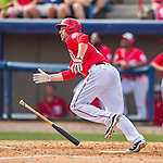 5 March 2016: Washington Nationals infielder Scott Sizemore hits a solo home-run in the 6th inning to take the lead 5-4 during a Spring Training pre-season game against the Detroit Tigers at Space Coast Stadium in Viera, Florida. The Nationals defeated the Tigers 8-4 in Grapefruit League play. Mandatory Credit: Ed Wolfstein Photo *** RAW (NEF) Image File Available ***
