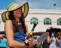 Fashionable hats abound on Kentucky Derby Day at Churchill Downs in Louisville, Kentucky on May 5, 2012.