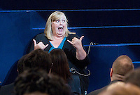 CHARLOTTE, NC - September 4, 2012 - One of the sign language interpreter's at the 2012 Democratic National Convention at the Time Warner Cable Arena.