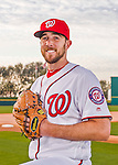 28 February 2016: Washington Nationals relief pitcher Taylor Hill poses for his Spring Training Photo-Day portrait at Space Coast Stadium in Viera, Florida. Mandatory Credit: Ed Wolfstein Photo *** RAW (NEF) Image File Available ***