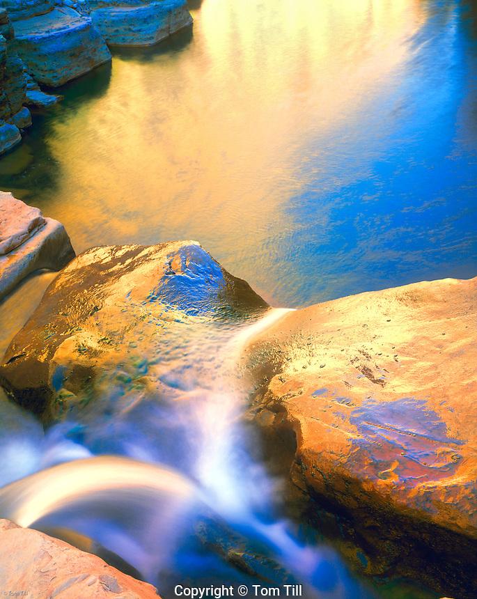 Reflections at Triplet Falls, Dark Canyon, Glen Canyon National Recreation Area, Utah, Lower Cataract Canyon, Dark Canyon Trail