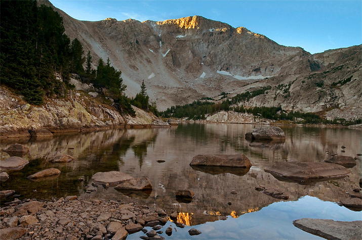 A serene morning at Camp Lake in the Wind River Range, WY.