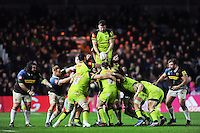 Mike Fitzgerald of Leicester Tigers wins the ball at a lineout. Aviva Premiership match, between Harlequins and Leicester Tigers on February 24, 2017 at the Twickenham Stoop in London, England. Photo by: Patrick Khachfe / JMP