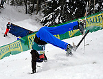 16 January 2009: Christopher Lambert from Switzerland takes a tumble while landing his aerial acrobatics during the FIS Freestyle World Cup warm-ups at the Olympic Ski Jumping Facility in Lake Placid, NY, USA. Mandatory Photo Credit: Ed Wolfstein Photo. Contact: Ed Wolfstein, Burlington, Vermont, USA. Telephone 802-864-8334. e-mail: ed@wolfstein.net