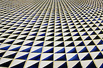 Downtown Los Angeles at the Arco center with empty fountain abstract patterns on tiles Los Angeles California USA