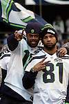 Seattle Seahawks wide receivers Sidney Rice(18)  points at a press photographer while standing behind Golden Tate (81)Super Bowl Championship Game at CenturyLink Field on February 5, 2014 in Seattle, Washington. ©2014. Jim Bryant Photo. ALL RIGHTS RESERVED.