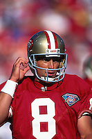 SAN FRANCISCO, CA - Quarterback Steve Young of the San Francisco 49ers in action during a game at Candlestick Park in San Francisco, California in 1994. Photo by Brad Mangin..
