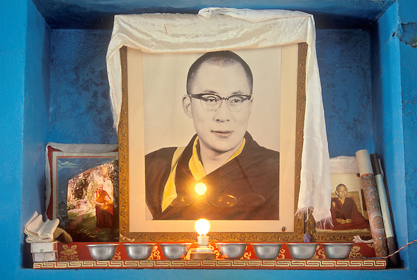 MCLEOD GANJ, DHARAMSALA, INDIA : An altar to the Tibetan religious leader the Dalai Lama. Mcleod Ganj,Dharamsala, Kangra Valley, Himachal Pradesh, India. Dharamsala has become synonymous to the Tibetan government in  exile and is the home of Tibetan leader Dalai Lama.