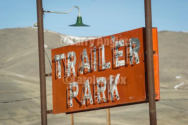 Red, roadside Trailer Park neon sign along US 95, Paradise Hill, Nev.