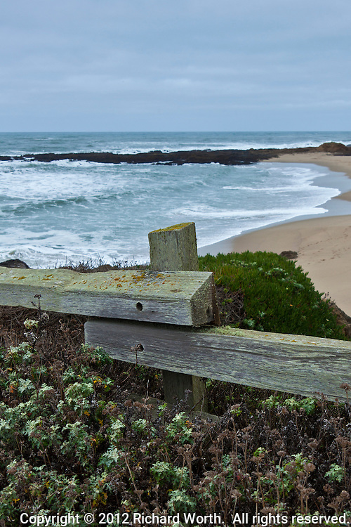 """Come lean on me,"" said the fence to the traveler.  ""Lean on me, pause  and look at the sea.""  Bean Hollow State Beach on the California Coast."