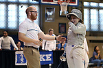 12 February 2017: UNC's Diana Philpot (right) with coach Will Randolph (left) during Saber. The Duke University Blue Devils hosted the University of North Carolina Tar Heels at Card Gym in Durham, North Carolina in a 2017 College Women's Fencing match. Duke won the dual match 14-13 overall and 7-2 in Epee. UNC won Foil 6-3 and Saber 5-4.