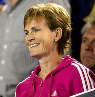 Judy Murray watches Andy Murray being interviewed after the match...Andy Murray (GBR) (1) against David Ferrer (ESP) (7) in the Semi-Finals of the men's singles. Andy Murray beat David Ferrer 4-6 7-6 6-1 7-6..International Tennis - Australian Open  -  Melbourne Park - Melbourne - Day 12 - Fri 28th January 2011..© Frey - AMN Images, Level 1, Barry House, 20-22 Worple Road, London, SW19 4DH.Tel - +44 208 947 0100.Email - Mfrey@advantagemedianet.com.Web - www.amnimages.photshelter.com