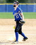 Burlington, CT- 17 April 2017-041717CM04- action woman first---   Lewis Mills' Mary-katherine Cormier delivers a pitch during their Berkshire League matchup against Nonnewaug in Burlington on Monday.   Nonnewaug would take home the win, 5-1.  Christopher Massa Republican-American