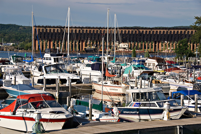 Cinder Pond Marina and downtown Marquette Michigan.