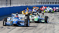 James Hinchcliffe leads a pack of cars, Milwaukee Indy Fest 250, Milwaukee Mile Speedway, Milwaukee, WI, August 2014.  (Photo by Brian Cleary/www.bcpix.com)