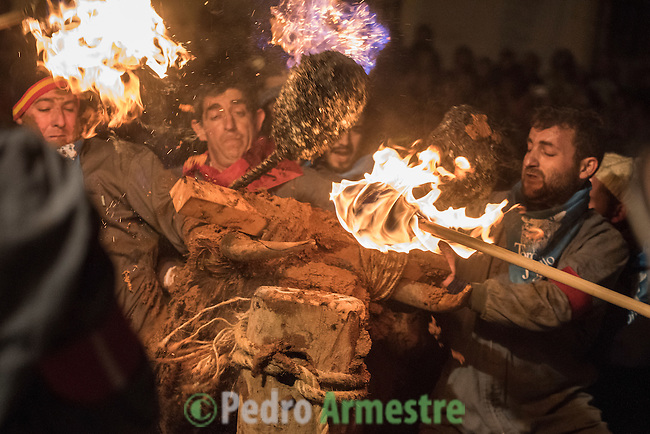 "Reveler set a bull's horns on fire during the festivity called toro de jubilo in Medinaceli, near Soria, on november 14, 2015. ""El toro de jubilo"" is a festival that takes place in Medinaceli. Every year, on the second weekend of November,  the bull is surrounded and restrained by participants. During this festival, a bull is tied to a post. Balls are then placed on each horn of the bull and lit a flame. A think layer of mud on the back and face of the bull helps protect the bull from physical injury or burns. The bull is then released by the square, which has 5 fire lit bonfires symbolizing five martyrs.   © PEDRO ARMESTRE"