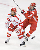 David Warsofsky (BU - 5), Sergio Somma (Ohio State - 44) - The Boston University Terriers defeated the Ohio State University Buckeyes 8-3 in the 2009 Northeast Regional Semifinal on Saturday, March 28, 2009, at the Verizon Wireless Center in Manchester, New Hampshire.