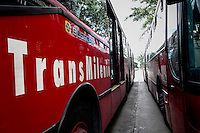 buses of the massive public transportation know as TRANSMILENIO are seen on a street in Bogota, Colombia.  05/15/2015. Eduardo MunozAlvarez/VIEWpress