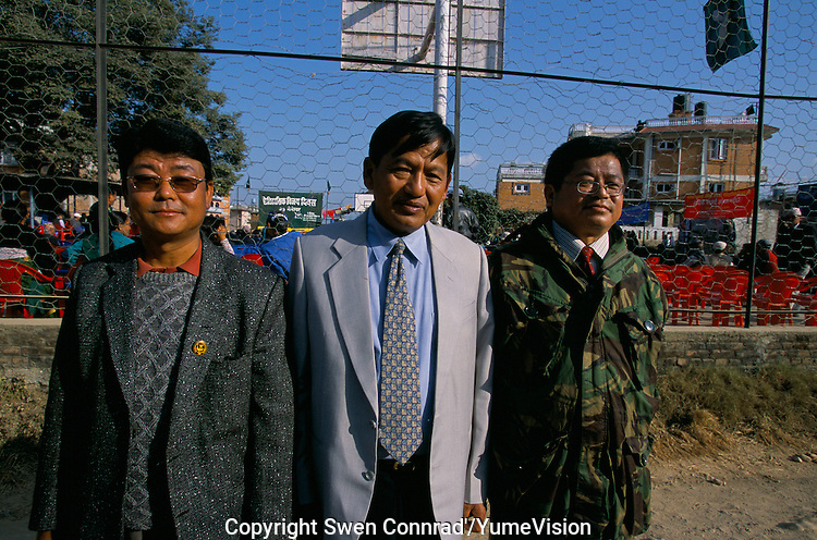 Padam Bahadur Gurung, President of the Gurkha Army Ex-Servicemen's Organisation (GAESO), with at is left the Lawyer of the organisation and on the right a former Sergeant of the British Gorkha army..We will not give up the fight until we have ended this discrimination against Gurkhas, say M. Padam Bahadur Gurung..-The full text reportage is available on request in Word format