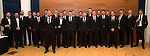 St Johnstone FC Scottish Cup Celebration Dinner at Perth Concert Hall...01.02.15<br /> The St Johnstone players and management team line-up before entering the auditorium<br /> Picture by Graeme Hart.<br /> Copyright Perthshire Picture Agency<br /> Tel: 01738 623350  Mobile: 07990 594431