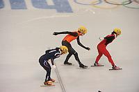 OLYMPICS: SOCHI: Iceberg Skating Palace, 13-02-2014, Shorttrack, Ladies' 500m, Quarterfinals, Alang Kim (#136 | KOR), Jorien ter Mors (#142 | NED), Quihong Liu (#112 | CHN), ©photo Martin de Jong