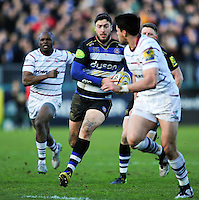 Matt Banahan of Bath Rugby goes on the attack. Aviva Premiership match, between Bath Rugby and London Irish on March 5, 2016 at the Recreation Ground in Bath, England. Photo by: Patrick Khachfe / Onside Images