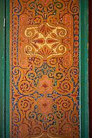 Berber arabesque wood painted  panel.The Petite Court, Bahia Palace, Marrakesh, Morroco