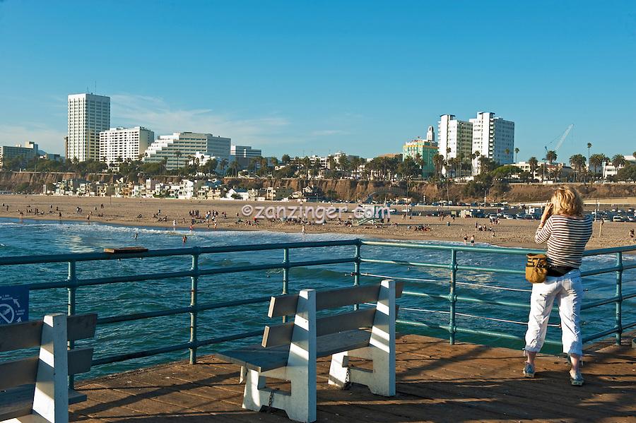 Santa Monica, CA Skyline, Photographer, Pacific Park, California, Pacific Park Amusements, Roller Coaster, Ferris Wheel, Over Water, mix of stores, restaurants, Beautiful