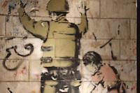 banksy soldier graffiti art at art miami fair during art basel 2012