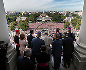 Pope Francis, center, along with United States House and Senate leadership as well as local clergy gather on the balcony of the Speaker of the House after he delivered an address to a joint session of Congress on September, 24, 2015 in Washington, DC.<br /> Credit: Bill O'Leary / Pool via CNP