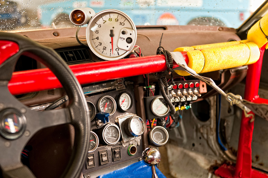 Cockpit of an old sport car. All logos removed.