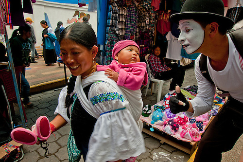 A scene in the Indigenous market in Ecuador.