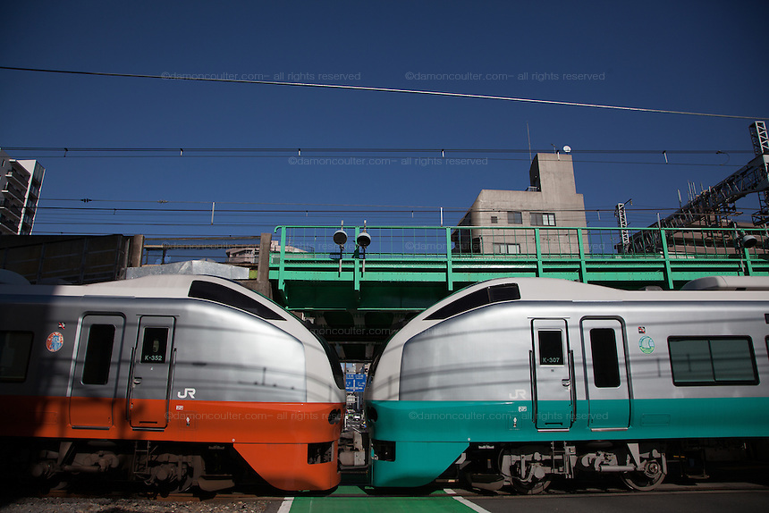 Two E 653 series trains, with orange and green livery, in Tokyo, Japan. Friday January 31st 2014