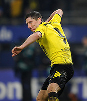 FUSSBALL   1. BUNDESLIGA   SAISON 2011/2012   18. SPIELTAG Hamburger SV - Borussia Dortmund     22.01.2012 Robert Lewandowski (Borussia Dortmund) bejubelt sein Tor zum 4:0