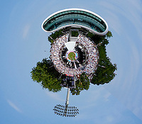 LONDON ENGLAND, 04-06-2011, A general Stereographic projection view of the action during the second international cricket test match between England and Sri Lanka, played at Lords, Marylebone London.  Mandatory credit: Mitchell Gunn
