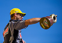 Jun 7, 2015; Englishtown, NJ, USA; NHRA pro stock driver Greg Anderson celebrates after winning the Summernationals at Old Bridge Township Raceway Park. Mandatory Credit: Mark J. Rebilas-