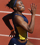 Royn Hunte wins the womens 200 Meter dash at a Stanford CAL track at Palo Alto, California.