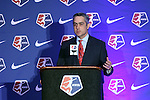 16 January 2015: NWSL Commissioner Jeff Plush. The National Women's Soccer League Draft was held at the Pennsylvania Convention Center in Philadelphia, Pennsylvania.