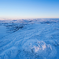 Dawn view of winter landscape from Summit of Pen Y Fan, Brecon Beacons national park, Wales