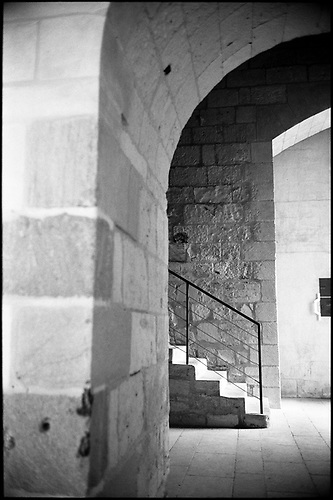Staircase, Fontevraud Abbey, Chinon, France by Paul Cooklin