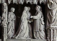 Mary and her sister Elizabeth greet each other, The Visitation, by Jean Soulas, upper scene from the choir screen, 1519-25, Chartres Cathedral, Eure-et-Loir, France. These sculpted scenes show the change in style from Gothic to Renaissance in the early 16th century in France. Chartres cathedral was built 1194-1250 and is a fine example of Gothic architecture. It was declared a UNESCO World Heritage Site in 1979. Picture by Manuel Cohen.