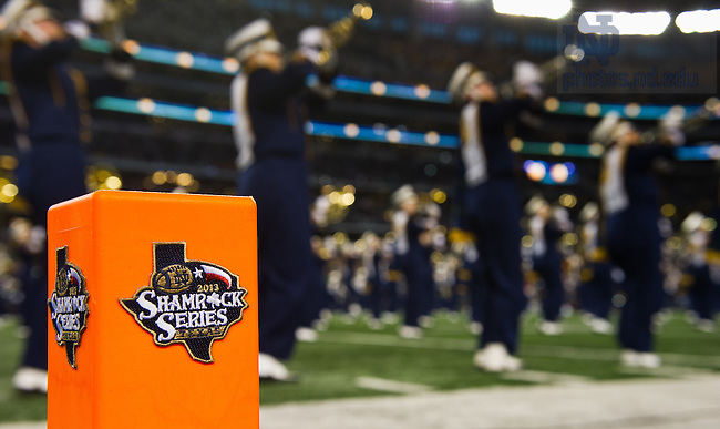 Oct. 5, 2013; The Notre Dame Marching Band takes the field at ATT Stadium.<br />